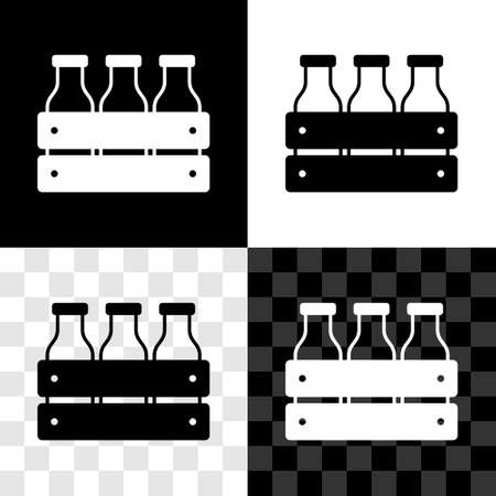 Set Bottled milk packed in wooden box icon isolated on black and white, transparent background. Vector  イラスト・ベクター素材
