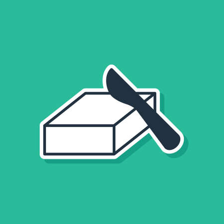 Blue Butter in a butter dish icon isolated on green background. Butter brick on plate. Milk based product. Natural dairy product. Vector