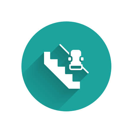 White Disabled access elevator lift escalator icon isolated with long shadow. Movable mechanical chair platform for handicapped human. Green circle button. Vector