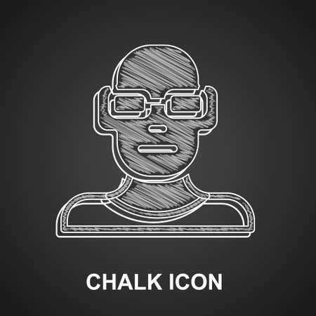 Chalk Poor eyesight and corrected vision with optical glasses icon isolated on black background. Vector