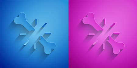 Paper cut Human broken bone icon isolated on blue and purple background. Paper art style. Vector