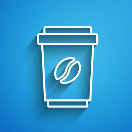 White line Coffee cup to go icon isolated on blue background. Long shadow. Vector
