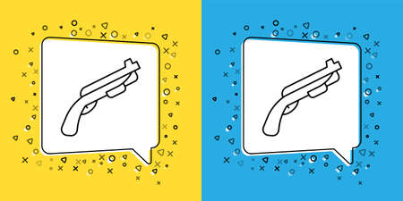 Set line Police shotgun icon isolated on yellow and blue background. Hunting shotgun. Vector