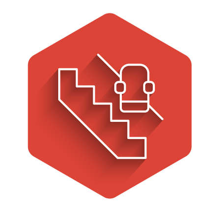 White line Disabled access elevator lift escalator icon isolated with long shadow. Movable mechanical chair platform for handicapped human. Red hexagon button. Vector