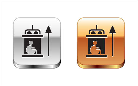 Black Elevator for disabled icon isolated on white background. Silver and gold square buttons. Vector