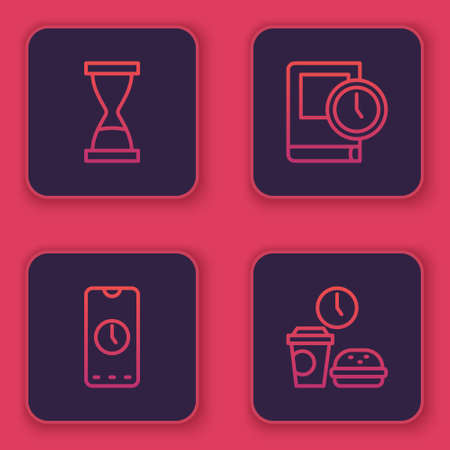 Set line Old hourglass with sand, Alarm clock app mobile, Time for book and Fast food time. Blue square button. Vector Vetores
