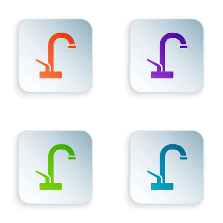 Color Water tap icon isolated on white background. Set colorful icons in square buttons. Vector