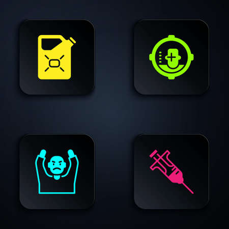 Set Syringe, Canister fuel, Thief surrendering hands up and Headshot. Black square button. Vector
