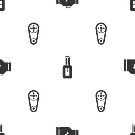 Set Check engine, Car key with remote and Timing belt kit on seamless pattern. Vector