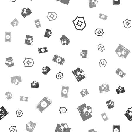 Set Shield, Document folder protection, Laptop protected with shield and Smartphone on seamless pattern. Vector
