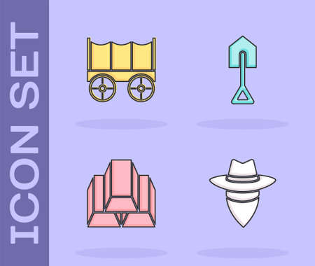 Set Cowboy, Wild west covered wagon, Gold bars and Shovel icon. Vector