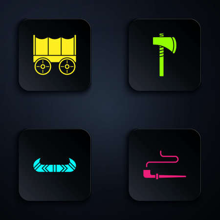 Set Smoking pipe, Wild west covered wagon, Kayak or canoe and paddle and Tomahawk axe. Black square button. Vector
