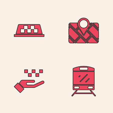 Set Train, Taxi car roof, Gps device with map and Hand taxi icon. Vector