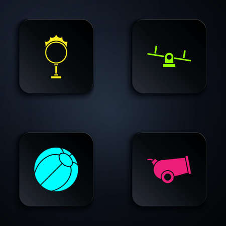Set Cannon, Circus fire hoop, Beach ball and Seesaw. Black square button. Vector