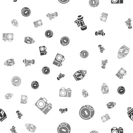 Set Camera roll cartridge, Music CD player, Soda can with straw and Photo camera on seamless pattern. Vector Vektorové ilustrace