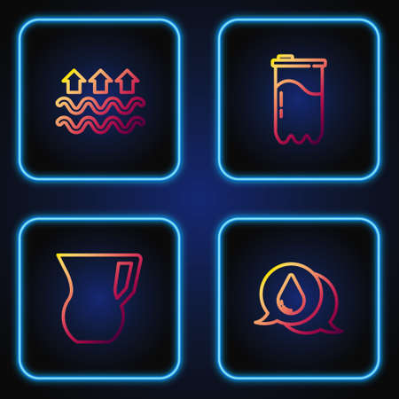 Set line Water drop, Jug glass with water, Waves of and evaporation and filter cartridge. Gradient color icons. Vector