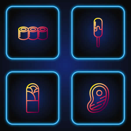 Set line Steak meat, Doner kebab, Sushi and Ice cream. Gradient color icons. Vector
