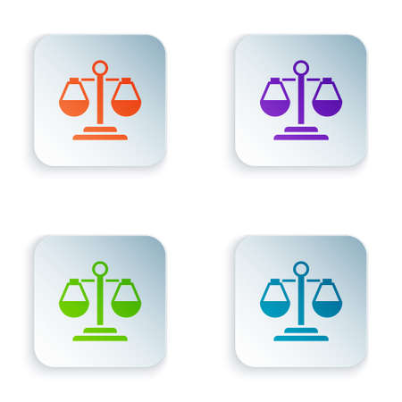 Color Scales of justice icon isolated on white background. Court of law symbol. Balance scale sign. Set colorful icons in square buttons. Vector