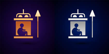 Gold and silver Elevator for disabled icon isolated on black background. Vector