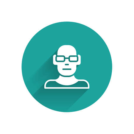 White Poor eyesight and corrected vision with optical glasses icon isolated with long shadow. Green circle button. Vector