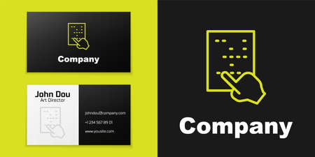 Logotype line Braille icon isolated on black background. Finger drives on points. Writing signs system for blind or visually impaired people. Logo design template element. Vector