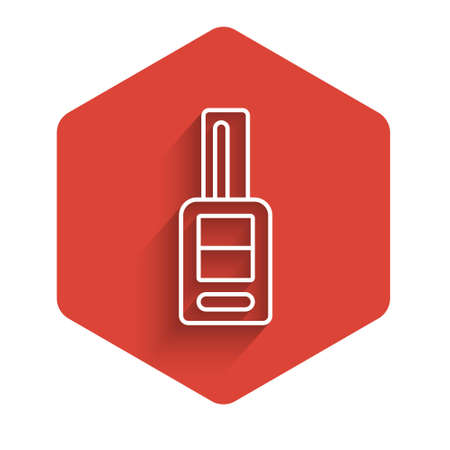 White line Car key with remote icon isolated with long shadow. Car key and alarm system. Red hexagon button. Vector