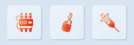 Set Lighter, Dynamite and timer clock and Syringe. White square button. Vector
