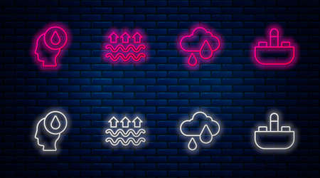 Set line Waves of water and evaporation, Cloud with rain, Water drop and Washbasin tap. Glowing neon icon on brick wall. Vector