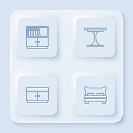 Set line Library bookshelf, Round table, Chest of drawers and Big bed. White square button. Vector