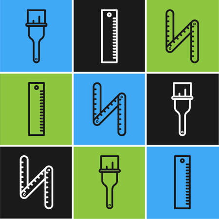 Set line Paint brush, Folding ruler and Ruler icon. Vector