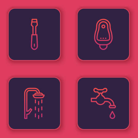 Set line Screwdriver, Shower, Toilet urinal or pissoir and Water tap. Blue square button. Vector