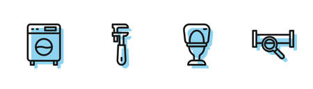 Set line Toilet bowl, Washer, Pipe adjustable wrench and Industry metallic pipe icon. Vector