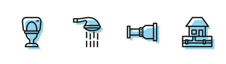 Set line Pipe adapter, Toilet bowl, Shower and Water supply pipes icon. Vector 向量圖像