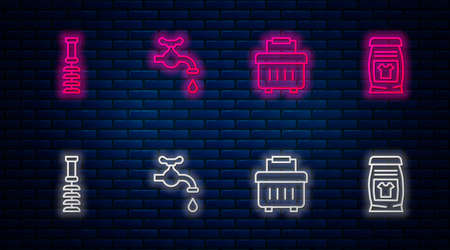 Set line Water tap, Toolbox, Toilet brush and Laundry detergent. Glowing neon icon on brick wall. Vector 向量圖像