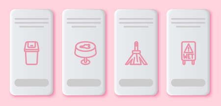 Set line Trash can, Stain on the tablecloth, Handle broom and Wet floor. White rectangle button. Vector 向量圖像