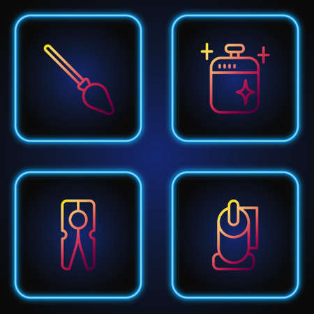 Set line Toilet paper roll, Clothes pin, Handle broom and Clean cooking pot. Gradient color icons. Vector