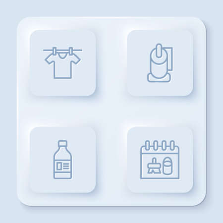 Set line Drying clothes, Toilet paper roll, Bottle for cleaning agent and Cleaning calendar. White square button. Vector