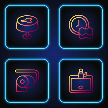 Set line Washbasin, Toilet paper roll, Stain on the tablecloth and Washing dishes. Gradient color icons. Vector 向量圖像