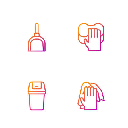 Set line Cleaning service, Trash can, Dustpan and . Gradient color icons. Vector