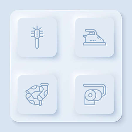 Set line Toilet brush, Electric iron, Socks and paper roll. White square button. Vector
