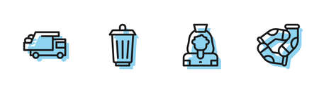 Set line Cleaning lady service, Garbage truck, Trash can and Socks icon. Vector 向量圖像