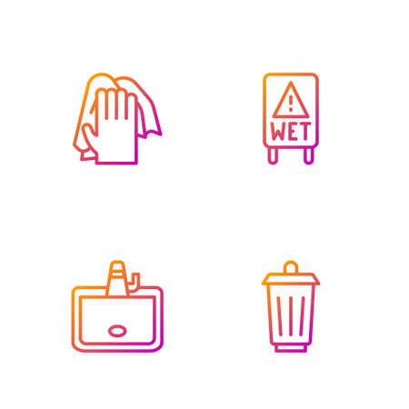 Set line Trash can, Washbasin, Cleaning service and Wet floor. Gradient color icons. Vector 向量圖像