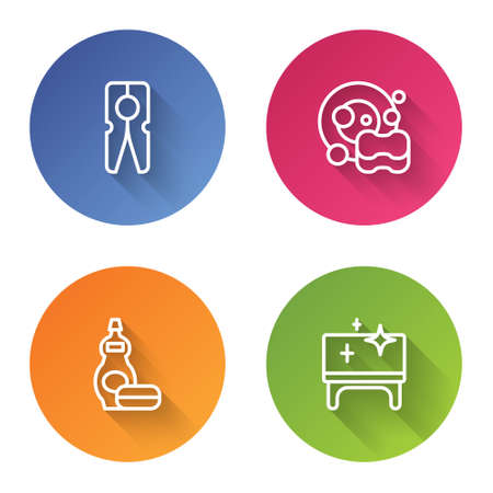 Set line Clothes pin, Washing dishes, Dishwashing liquid bottle and Clean table. Color circle button. Vector