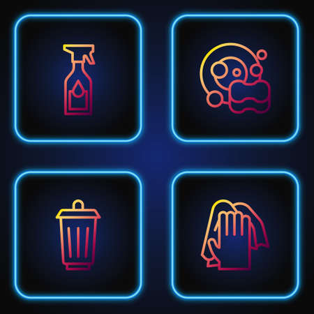 Set line Cleaning service, Trash can, spray bottle and Washing dishes. Gradient color icons. Vector 向量圖像