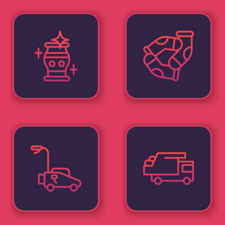 Set line Clean vase, Lawn mower, Socks and Garbage truck. Blue square button. Vector