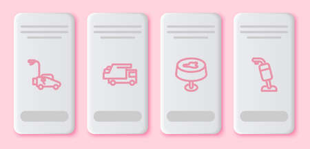 Set line Lawn mower, Garbage truck, Stain on the tablecloth and Vacuum cleaner. White rectangle button. Vector