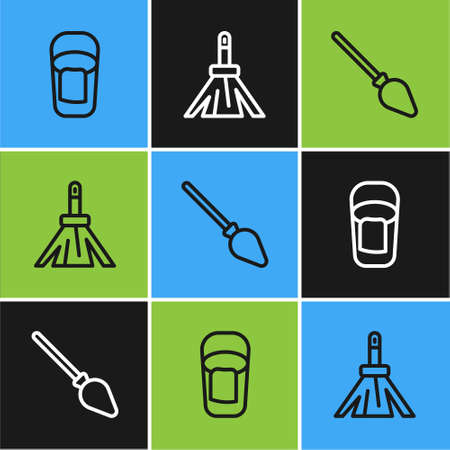 Set line Bucket with rag, Handle broom and icon. Vector