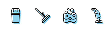 Set line Sponge, Trash can, Mop and Vacuum cleaner icon. Vector