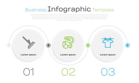 Set line Mop, Vacuum cleaner and Drying clothes. Business infographic template. Vector 向量圖像