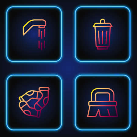 Set line Brush for cleaning, Socks, Shower head and Trash can. Gradient color icons. Vector